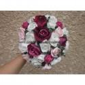 Bouquet de la mariée Rond élégant avec des Roses perlées (28cm)