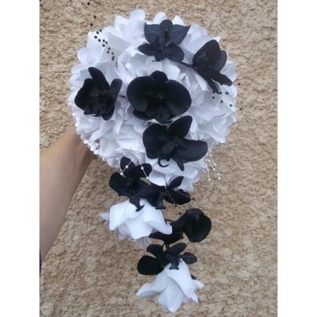 Bouquet mariée noir blanc orchidée