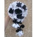 Bouquet de Mariage thème Cascade Noir & Blanc avec des Orchidées