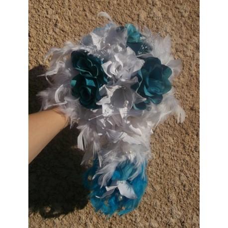 Bouquet mariée turquoise/blanc ou tuquoise/ivoire