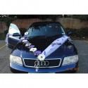 Decoration de voiture de mariage avec marguerites couleur prune