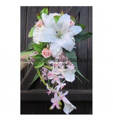 Bouquet Mariée rose clair argent