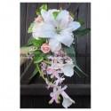 Bouquet mariage Tombant rose clair argent avec Lys et Roses