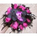 """Bouquet mariage Cascade """"New York"""" noir et fuchsia avec orchidées"""