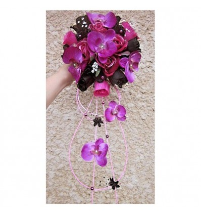 bouquet mariee fuschia noir diamantes