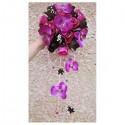 Bouquet de mariage cascade thème fuchsia noir avec diamants