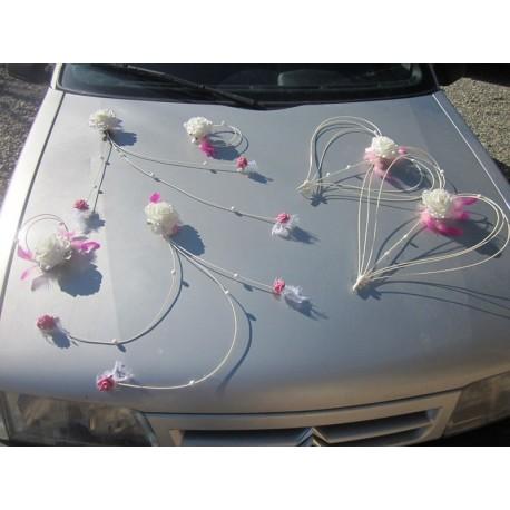 Lot décoration voiture fushia et blanc