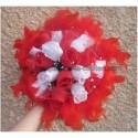 Promo: Bouquet Mariage Rond Original avec roses, perles et plumes