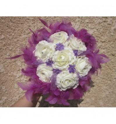 Bouquet de mariée prune plumes