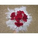 Bouquet mariée rond thème orchidées rouge, plumes, perles