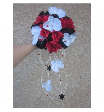 bouquet mariee rouge noir diamantes