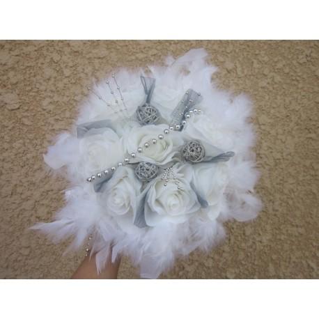 Bouquet mariée blanc et argent