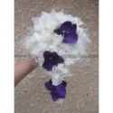 """Bouquet pour mariage Cascade """"Elegance"""" avec orchidée prune, roses"""
