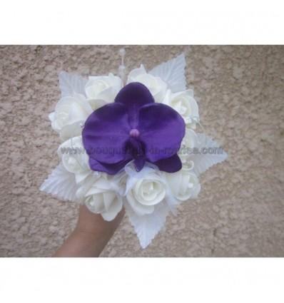 Bouquet demoiselle d'honneur orchidée prune