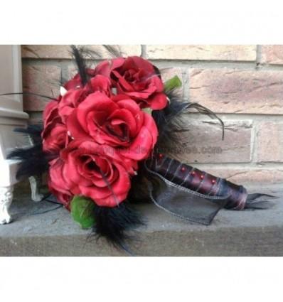 bouquet decoration de voiture rouge et noir