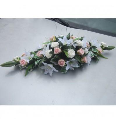 70cm roses et lys blanc et rose tendre