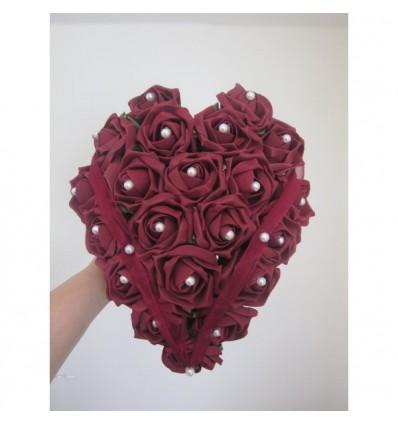 Bouquet coeur bordeaux
