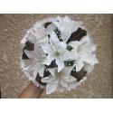 Beau Bouquet de la mariée fait avec des Lys, Roses, Tulle et Perles