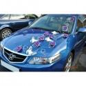 Décoration de voiture pour mariage avec papillon, roses, perles, rotin