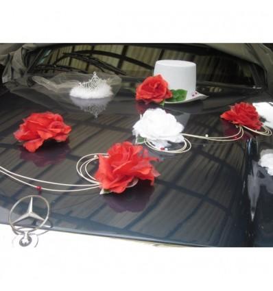 D coration de voiture de mariage avec chapeau et diad me blanc bouquet de la mariee - Soldes decoration mariage ...