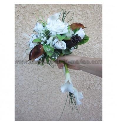 Bouquet mariée arums chocolat