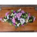 Lot mariage fushia anis: bouquet, décoration voiture et boutonnière