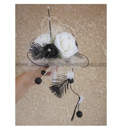 bouquet mariée artificiel noir et blanc