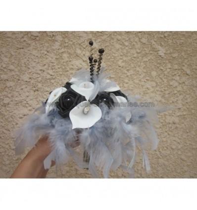 Bouquet arums noir blanc et gris