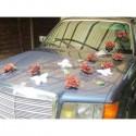 Décoration de voiture de mariage thème papillon couleur chocolat