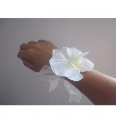 Bracelet orchidée blanc cassé