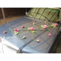 Décoration de voiture de mariage en 4 parties thème vert et fuchsia