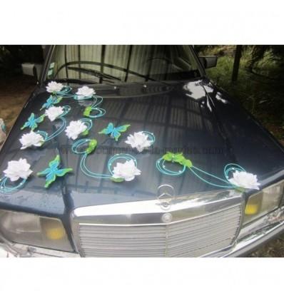 d coration de voiture pour mariage th me papillon couleur turquoise bouquet de la mariee. Black Bedroom Furniture Sets. Home Design Ideas