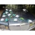 Décoration de voiture pour mariage thème papillon, couleur turquoise