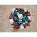 Bouquet de Mariée thème turquoise et chocolat avec roses et perles