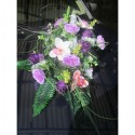 Décoration de voiture de mariage: Bouquet de fleurs parme et violet