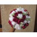 Bouquet Mariée Rond Bordeaux OU Rouge avec roses, perles et strass