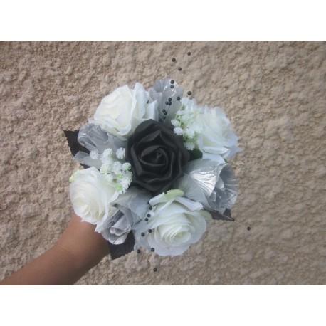 Bouquet demoiselle honneur noir argent
