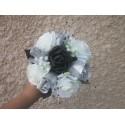 Bouquet demoiselle d'honneur avec roses noires, argent+strass, tulle