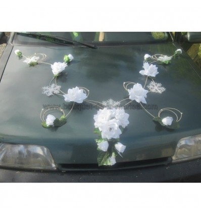 decoration voiture mariage theme hiver neige