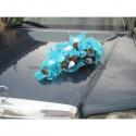 Decoration voiture, table mariage avec plumes turquoise et chocolat
