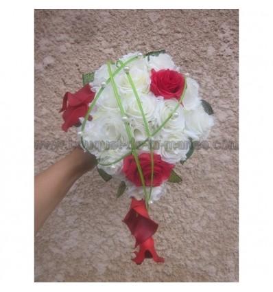 Bouquet de mariage rouge et vert
