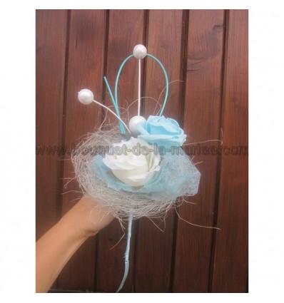 Bouquet theme hiver bleu et blanc