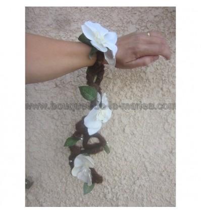 Bouquet bracelet mariage foret nature orchidée