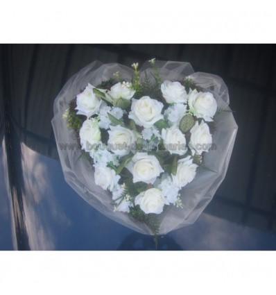 Bouquet voiture mariage coeur des roses