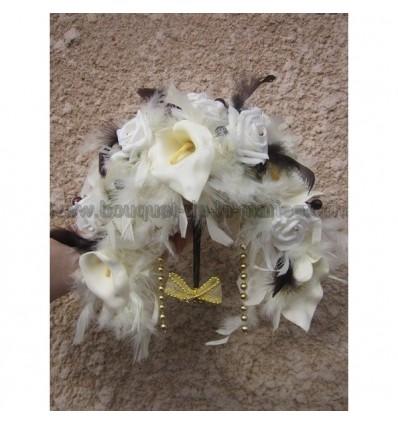 Bouquet mariage ivoire chocolat plumes