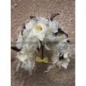 Bouquet de Mariage stylé thème ivoire, chocolat et plumes