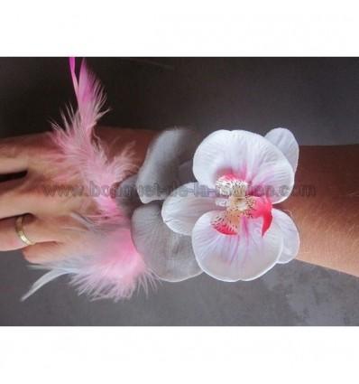 bracelet mariage orchidées rose et gris