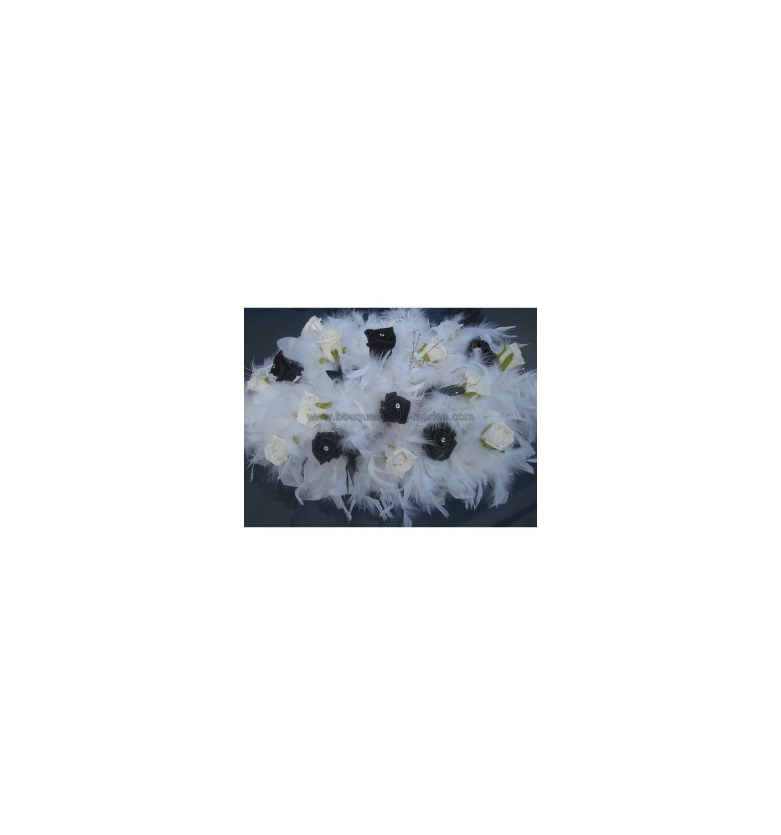 Bouquet De Voiture Mariage Mari E Plumes Perles Noir Et Blanc Bouquet De La Mariee