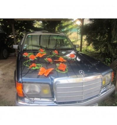 Decoration de voiture mariage orange et vert papillon