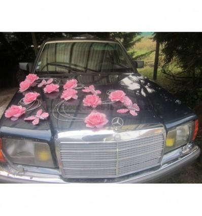 Composition voiture mariage rose et argent papillons